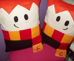 fred and george, harry potter, and pillows image