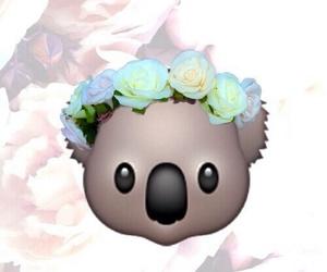 Koala, emoji, and flowers image