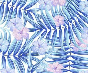 blue, flowers, and leaves image