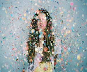 girl, confetti, and colors image