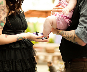 baby, tattoo, and family image