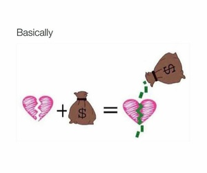 heart, money, and love image