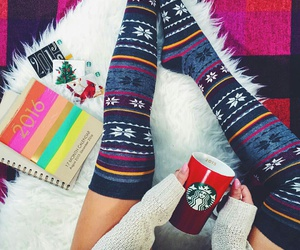 starbucks, christmas, and socks image