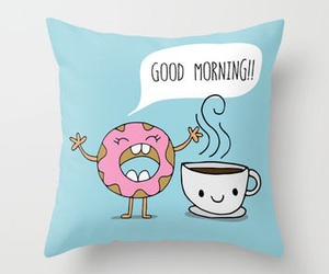 coffee, donut, and good morning image