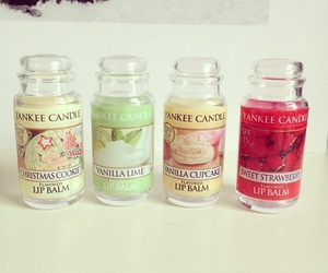 yankee candle, lip balm, and beauty image