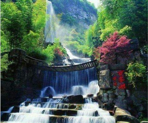 waterfall, nature, and china image