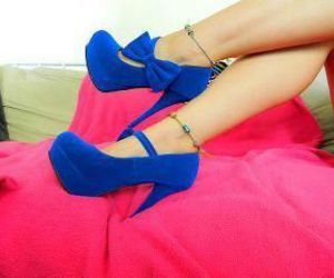 shoes, blue, and heels image