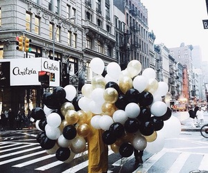 balloons, city, and gold image