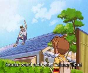 anime, weed, and smoke image