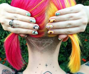 pink hair, Tattoos, and undercut image