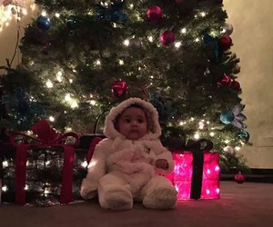 baby, christmas tree, and december image