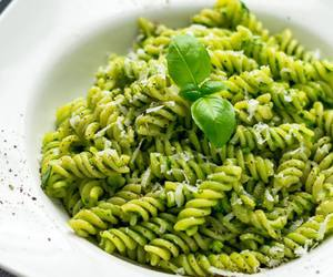 food, pasta, and pesto image