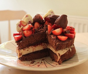 strawberry, cake, and chocolate image