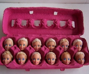 barbie, pink, and eggs image
