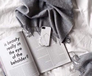 book, bed, and grey image