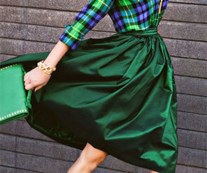 green, outfit, and skirt image