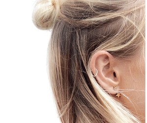 hair, blonde, and earrings image