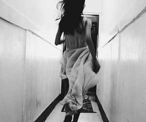 girl, black and white, and run image