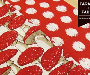 fabric, mushrooms, and patterns image