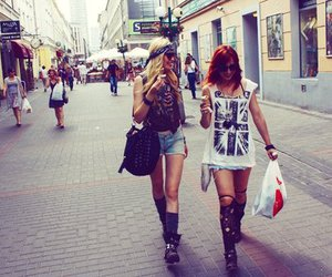 girl, friends, and shopping image