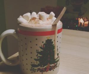 christmas, tree, and coffe image
