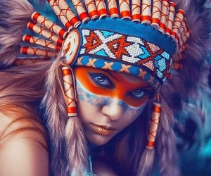 beautiful, girl, and red indian image