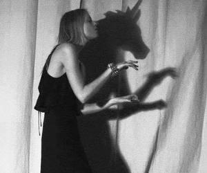 unicorn, girl, and shadow image