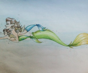 larry stylinson, merman!harry, and harpy!louis image