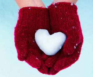 snow, heart, and red image