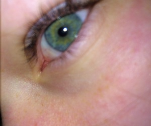 blue eye, green eye, and cry image