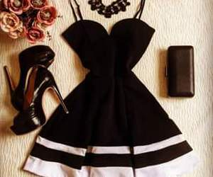 elegante, preto, and vestido image
