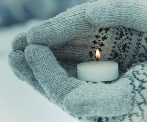 candle, tea light, and snow image