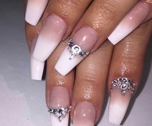 nails, ombrenails, and jewels @rhinestones image