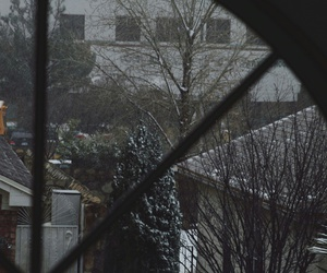 house, snow, and snow flakes image
