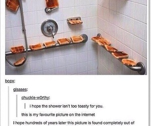 funny, shower, and toast image