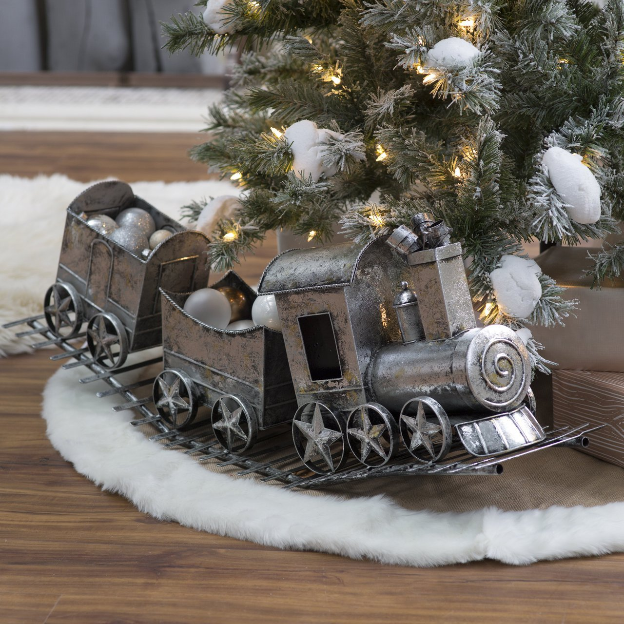 sweet christmas ornaments for xmas home decoration gerson silver metal christmas holiday train feature antiqued silver finish and engine car two cargo - Christmas Train Decoration