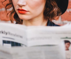 girl, beautiful, and newspaper image