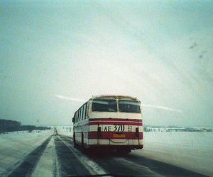 bus, snow, and road image