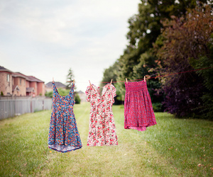 flowers, clothesline, and dress image