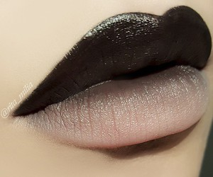 lips, makeup, and black image