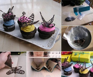 butterfly, chocolate, and cupcake image