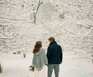couple, snow, and winter image