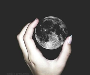 moon, hand, and black image