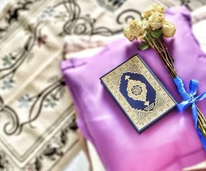 quran, islam, and flowers image