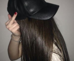 brunette, cap, and girl image