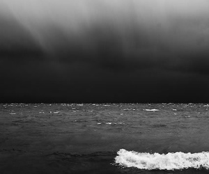 black and white, ocean, and wave image
