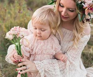 baby, flowers, and mother image