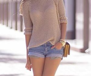 fashion, jumper, and shorts image