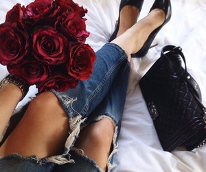 fashion, rose, and flowers image