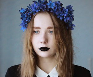 black, flowers, and blue image